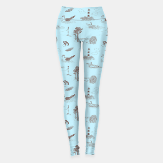 Thumbnail image of Seaside Town Toile Pattern (Light Blue and Brown) Leggings, Live Heroes