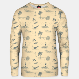 Thumbnail image of Seaside Town Toile Pattern (Beige and Grey) Unisex sweater, Live Heroes