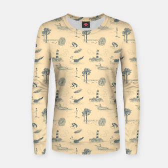 Thumbnail image of Seaside Town Toile Pattern (Beige and Grey) Women sweater, Live Heroes
