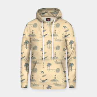 Thumbnail image of Seaside Town Toile Pattern (Beige and Grey) Hoodie, Live Heroes