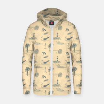 Thumbnail image of Seaside Town Toile Pattern (Beige and Grey) Zip up hoodie, Live Heroes