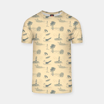 Thumbnail image of Seaside Town Toile Pattern (Beige and Grey) T-shirt, Live Heroes