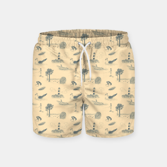 Thumbnail image of Seaside Town Toile Pattern (Beige and Grey) Swim Shorts, Live Heroes