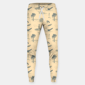 Thumbnail image of Seaside Town Toile Pattern (Beige and Grey) Sweatpants, Live Heroes