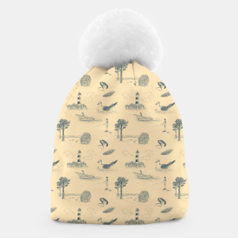 Thumbnail image of Seaside Town Toile Pattern (Beige and Grey) Beanie, Live Heroes