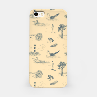 Thumbnail image of Seaside Town Toile Pattern (Beige and Grey) iPhone Case, Live Heroes