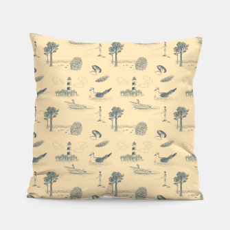 Thumbnail image of Seaside Town Toile Pattern (Beige and Grey) Pillow, Live Heroes