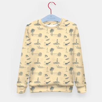 Thumbnail image of Seaside Town Toile Pattern (Beige and Grey) Kid's sweater, Live Heroes
