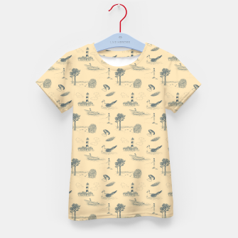 Thumbnail image of Seaside Town Toile Pattern (Beige and Grey) Kid's t-shirt, Live Heroes