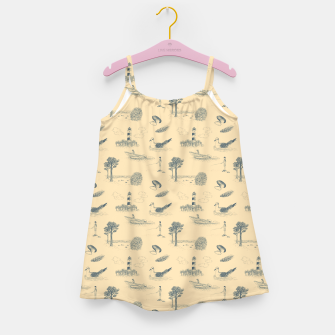 Thumbnail image of Seaside Town Toile Pattern (Beige and Grey) Girl's dress, Live Heroes