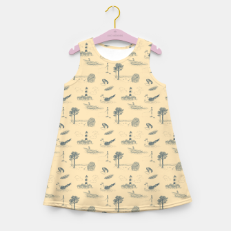Thumbnail image of Seaside Town Toile Pattern (Beige and Grey) Girl's summer dress, Live Heroes