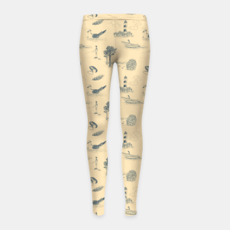 Thumbnail image of Seaside Town Toile Pattern (Beige and Grey) Girl's leggings, Live Heroes