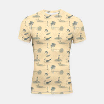 Thumbnail image of Seaside Town Toile Pattern (Beige and Grey) Shortsleeve rashguard, Live Heroes