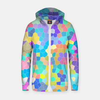 Miniatur Stained glass print, colorful crystal shapes Zip up hoodie, Live Heroes