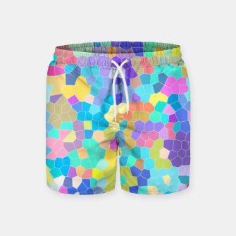 Miniatur Stained glass print, colorful crystal shapes Swim Shorts, Live Heroes