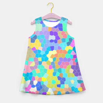 Miniaturka Stained glass print, colorful crystal shapes Girl's summer dress, Live Heroes