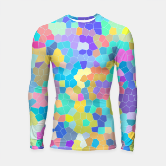 Thumbnail image of Stained glass print, colorful crystal shapes Longsleeve rashguard , Live Heroes