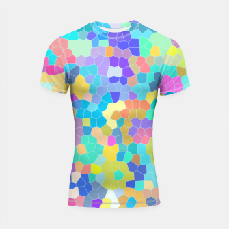 Miniatur Stained glass print, colorful crystal shapes Shortsleeve rashguard, Live Heroes