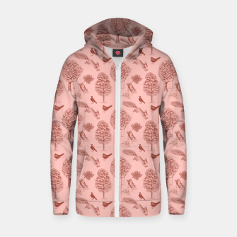 Miniatur A Girl Reading in the Garden (Pink and Maroon) Zip up hoodie, Live Heroes