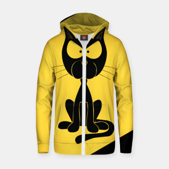 The angry cat print, animal cartoon design Zip up hoodie miniature