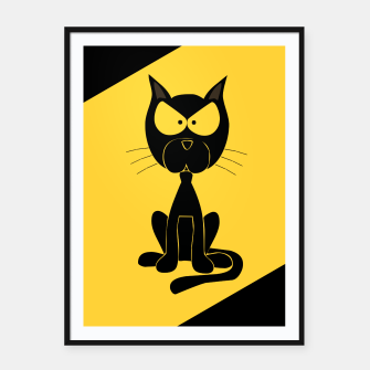 The angry cat print, animal cartoon design Framed poster miniature