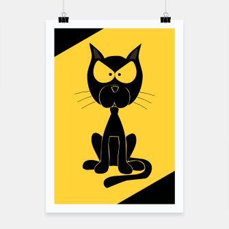 The angry cat print, animal cartoon design Poster miniature