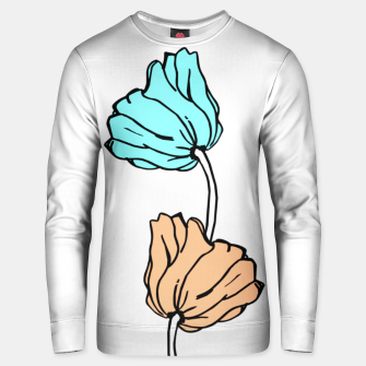 Thumbnail image of Pink and blue sketched flowers, nature print, poppy Unisex sweater, Live Heroes