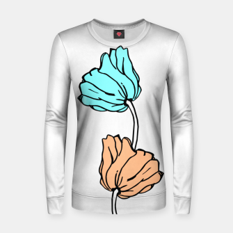 Thumbnail image of Pink and blue sketched flowers, nature print, poppy Women sweater, Live Heroes