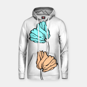 Thumbnail image of Pink and blue sketched flowers, nature print, poppy Hoodie, Live Heroes
