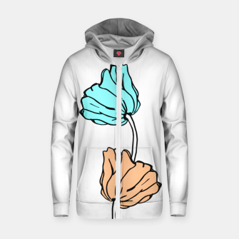 Thumbnail image of Pink and blue sketched flowers, nature print, poppy Zip up hoodie, Live Heroes
