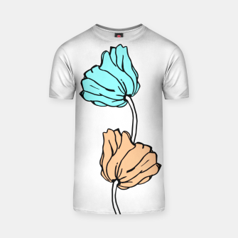Thumbnail image of Pink and blue sketched flowers, nature print, poppy T-shirt, Live Heroes