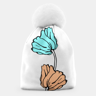 Thumbnail image of Pink and blue sketched flowers, nature print, poppy Beanie, Live Heroes