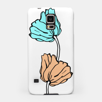 Thumbnail image of Pink and blue sketched flowers, nature print, poppy Samsung Case, Live Heroes