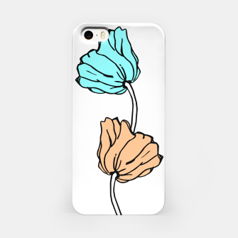 Thumbnail image of Pink and blue sketched flowers, nature print, poppy iPhone Case, Live Heroes