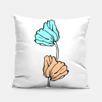 Thumbnail image of Pink and blue sketched flowers, nature print, poppy Pillow, Live Heroes