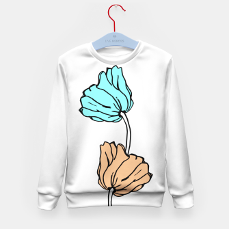 Thumbnail image of Pink and blue sketched flowers, nature print, poppy Kid's sweater, Live Heroes