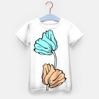 Thumbnail image of Pink and blue sketched flowers, nature print, poppy Kid's t-shirt, Live Heroes