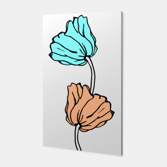 Thumbnail image of Pink and blue sketched flowers, nature print, poppy Canvas, Live Heroes