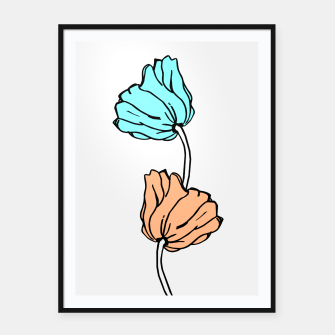 Thumbnail image of Pink and blue sketched flowers, nature print, poppy Framed poster, Live Heroes