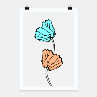 Thumbnail image of Pink and blue sketched flowers, nature print, poppy Poster, Live Heroes