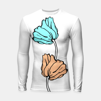 Thumbnail image of Pink and blue sketched flowers, nature print, poppy Longsleeve rashguard , Live Heroes