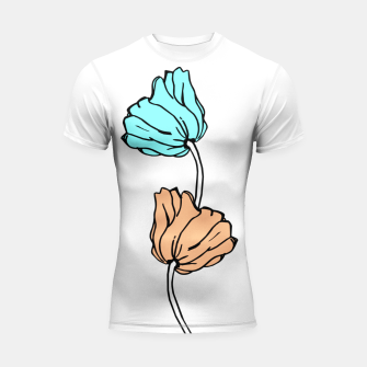 Thumbnail image of Pink and blue sketched flowers, nature print, poppy Shortsleeve rashguard, Live Heroes