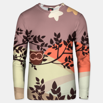 Quiet and peaceful night, cute owl snooze on the tree Unisex sweater miniature