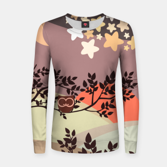 Quiet and peaceful night, cute owl snooze on the tree Women sweater miniature