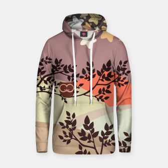 Quiet and peaceful night, cute owl snooze on the tree Hoodie miniature