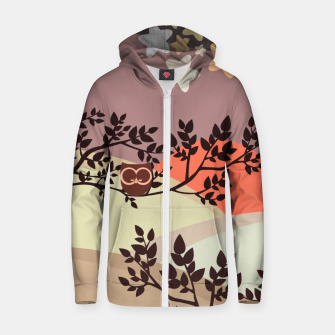 Quiet and peaceful night, cute owl snooze on the tree Zip up hoodie miniature