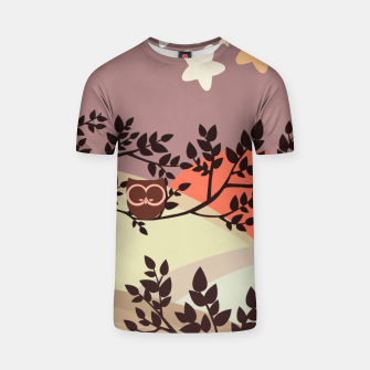 Quiet and peaceful night, cute owl snooze on the tree T-shirt miniature