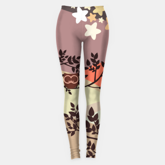 Quiet and peaceful night, cute owl snooze on the tree Leggings miniature