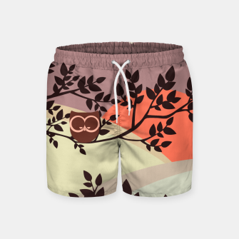 Quiet and peaceful night, cute owl snooze on the tree Swim Shorts miniature