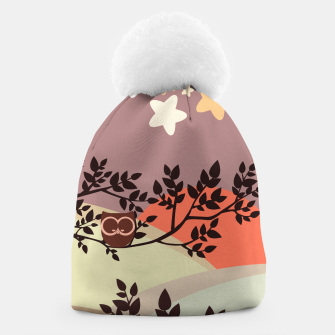 Quiet and peaceful night, cute owl snooze on the tree Beanie miniature